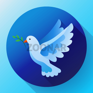 Blue dove with branch peace icon. Flying blue bird and peace concept. Pacifism concept. Free Flying symbol. Dove icon - symbol of God, peace on earth, divine providence, the angel of God.