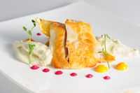 Fried pikeperch with celery puree