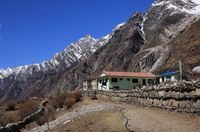Hotel in Mundu. View down the Langtang valley, Nepal.