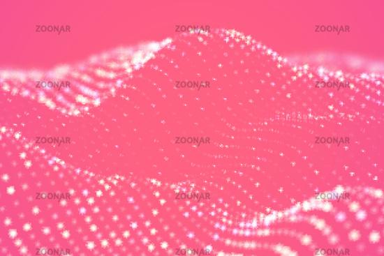 Digital landscape or sound waves visualization. Big data concept.