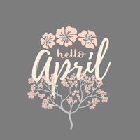 Hello april card with Cherry Blossom Spring Flower tree