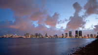 Strom Clearing Sunset Downtown City Skyline Waterrfront Miami Florida