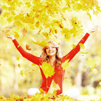 Happy autumn woman