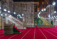 Engraved marble alabaster platform (Minbar) and wooden green decorated platform, Mosque of Muhammad Ali, Citadel of Cairo, Egypt