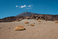 desert landscape and mountain peak view from volcanic crater, pico del Teide, Tenerife