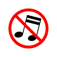 Music are not allowed, red forbidden sign on white