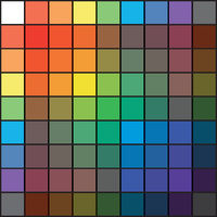 Polychrome Multicolor Spectral Rainbow Grid of 9x9 segments. The spectral harmonic colorful palette of the painter.