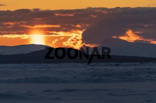 Sonnenuntergang, Akkajaure, Lappland