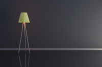3d illustration of a lamp in a dark room.