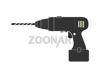 Drill, hand tool, simple flat design