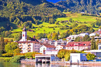 Idyllic Luzern lake village of Hergiswil waterfront view