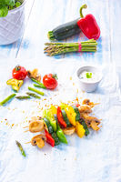 vegetarian skewers white mushrooms, peppers and zucchini for barbecue