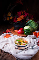 delicious autumnal vegetable soup with sausage and bacon