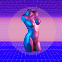 Modern conceptual art poster with purple blue colorful female torso mannequin. Contemporary art collage.