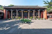 Temple in a buddhist monastery in Chengdu, China