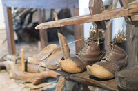 Historic wooden clogs