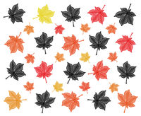 autumn themed modern chestnut leaf repeating modern pattern design in brown and yellow and red colors