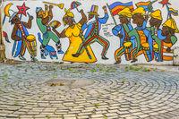 Candombe Mural, Ciudad Vieja District, Montevideo, Uruguay