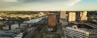 Aerial View of Downtown Tacoma Washington and The Port Waterfront