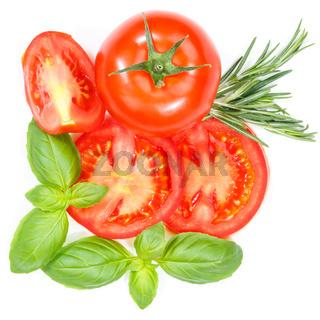 Tomaten mit Basilikum Gemüse von oben Quadrat freigestellt Freisteller isoliert