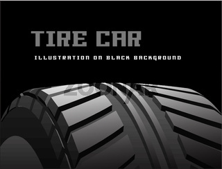 Car tire with tire marks on a black background. Vector