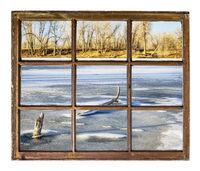 Frozen lakewindow view