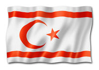 Northern Cyprus flag isolated on white