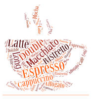 coffee drinks words cloud collage