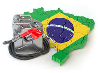 Gasoline and petrol consumption and production in Brazil. Map of Brazil with jerrycan and gas pump nozzle.