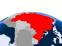 Brazil on political globe
