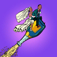 Bride and groom wedding. African American couple. Flying on a bo
