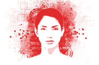 Abstract art portrait of young woman with Stencils  posterize print effect