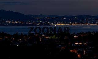 Nachtaufnahme Bodensee, Lichter, Landschaftsbild