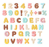 Cookies with colorful glaze set, alphabet and numbers