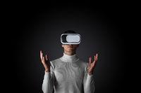 Man using futuristic VR goggles