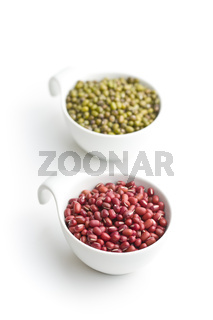 Red adzuki beans and green mungo beans.