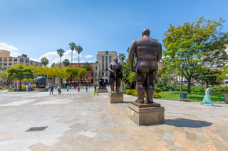 statues of Adam and Eve in the sculpture square in Medellin Colombia