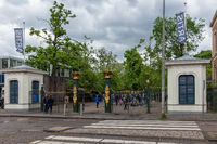 Visitors entering Artis Zoo Amsterdam, oldest zoo of the Netherlands