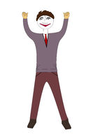 Man with cheering pose, 3d illustration