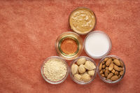 collection of almond super foods