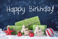 Green Christmas Gifts, Snow, Decoration, Text Happy Birthday