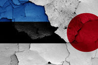 flags of Estonia and Japan