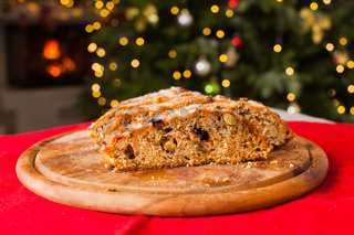 Traditional Sweet Fruit Loaf with Icing Sugar on Christmas