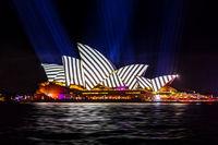 Sydney Opera House with geometric stripes during Vivid Sydney