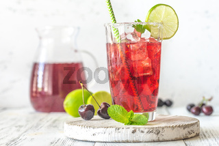 Glass of cherry mojito