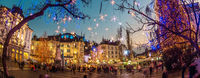 Romantic Ljubljana's city center decorated for Christmas holidays. Preseren's square, Ljubljana, Slovenia, Europe