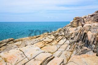 Rocks coastline and sea at Koh Samui