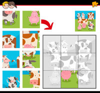 jigsaw puzzles with cartoon happy farm animals