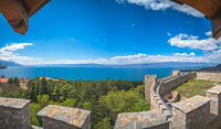 View of the Ohrid Lake as seen from the castle Samuil