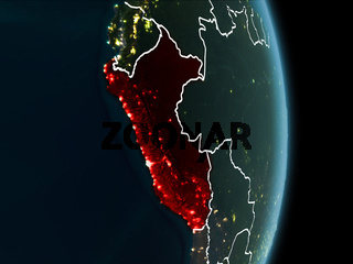 Orbit view of Peru at night